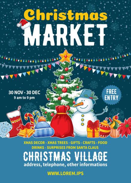 stockillustraties, clipart, cartoons en iconen met kerst markt poster sjabloon - bazaar