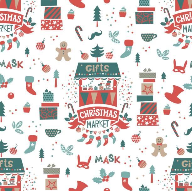 weihnachten markt nahtlose muster mit weihnachten hintergrund - weihnachtsmarkt stock-grafiken, -clipart, -cartoons und -symbole