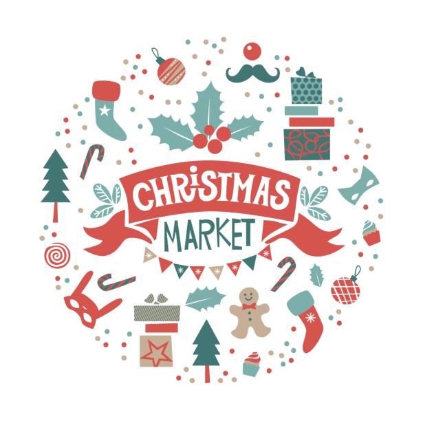 weihnachtsmarkt set mit weihnachten objekte und symbole des urlaubs - weihnachtsmarkt stock-grafiken, -clipart, -cartoons und -symbole