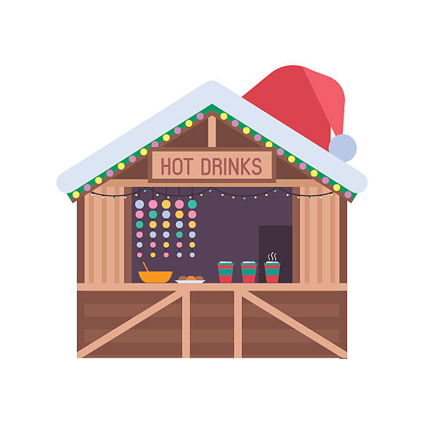weihnachts-marktstand - weihnachtsmarkt stock-grafiken, -clipart, -cartoons und -symbole