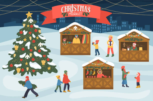 weihnachtsmarkt - weihnachtsmarkt stock-grafiken, -clipart, -cartoons und -symbole