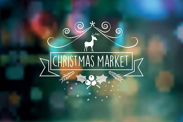 christmas market vintage badge on blurred lights - weihnachtsmarkt stock-grafiken, -clipart, -cartoons und -symbole
