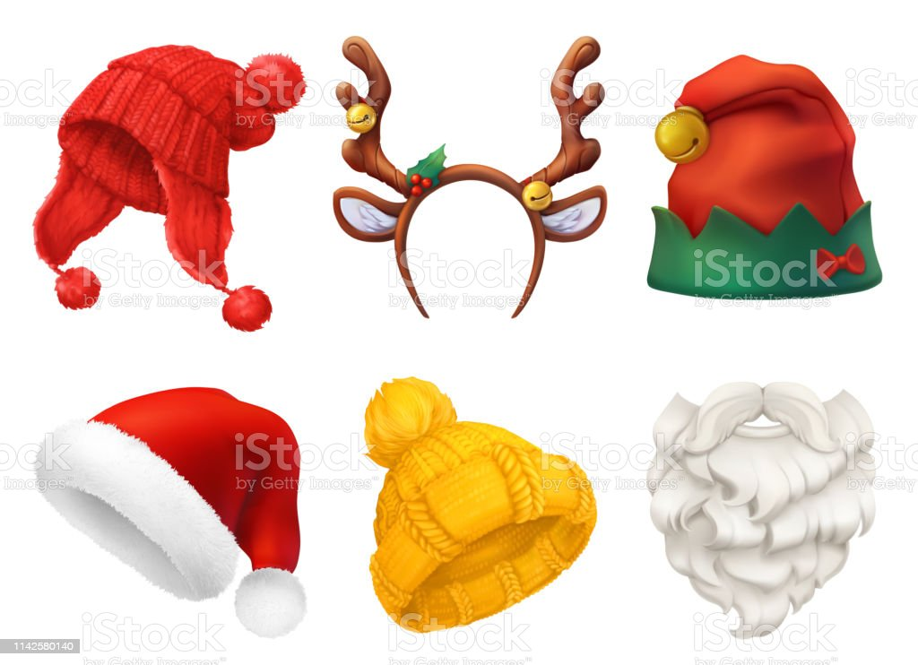 Christmas mask, Santa Claus hat, knitted hat. 3d realistic vector icon set Christmas mask, Santa Claus hat, knitted hat. 3d realistic vector icon set Antler stock vector