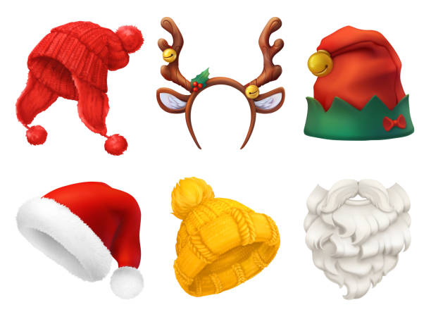 christmas mask, santa claus hat, knitted hat. 3d realistic vector icon set - reindeer stock illustrations