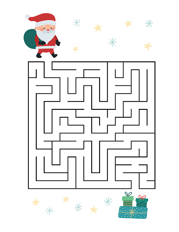 Christmas maze game for children. Help Santa find way to presents