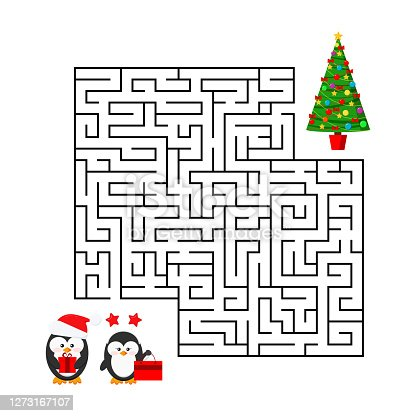 istock Christmas maze game - labyrinth with cute boy and girl couple with x-mas gifts for kids education. 1273167107
