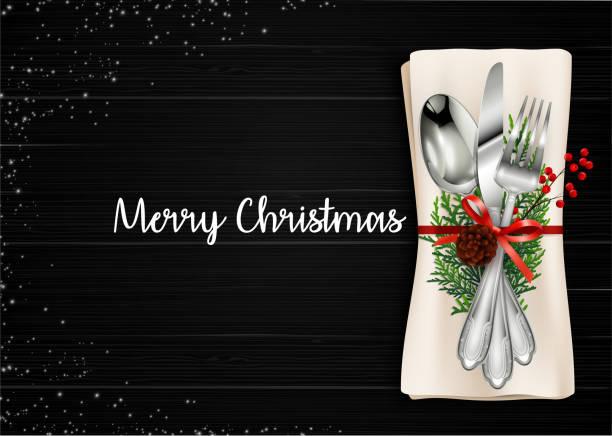 illustrazioni stock, clip art, cartoni animati e icone di tendenza di christmas meal table setting background - pranzo di natale
