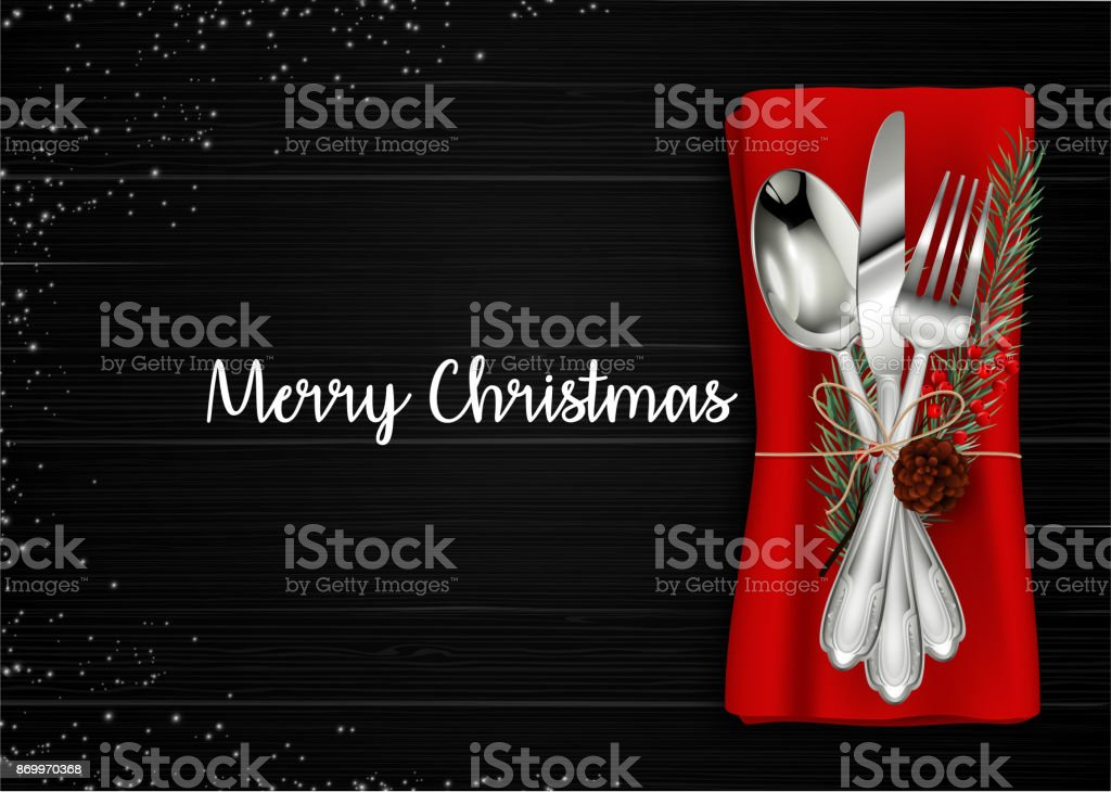 Christmas meal table setting background - arte vettoriale royalty-free di Abete