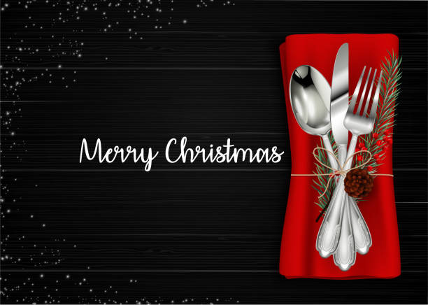 illustrazioni stock, clip art, cartoni animati e icone di tendenza di christmas meal table setting background - cena