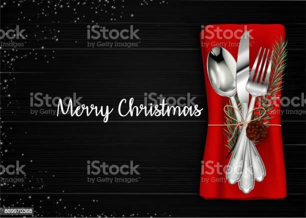 Christmas Meal Table Setting Background - Immagini vettoriali stock e altre immagini di Abete