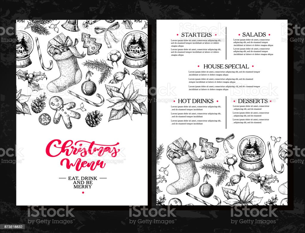 Christmas menu. Chalkboard restaurant and cafe template. Vector hand drawn illustration with holly, mistletoe, poinsettia, pine cone, cotton, fir tree. - arte vettoriale royalty-free di Acquaforte