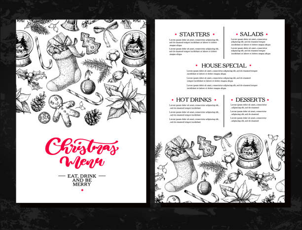 illustrazioni stock, clip art, cartoni animati e icone di tendenza di christmas menu. chalkboard restaurant and cafe template. vector hand drawn illustration with holly, mistletoe, poinsettia, pine cone, cotton, fir tree. - cena natale