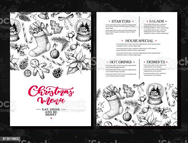 Christmas Menu Chalkboard Restaurant And Cafe Template Vector Hand Drawn Illustration With Holly Mistletoe Poinsettia Pine Cone Cotton Fir Tree - Immagini vettoriali stock e altre immagini di Acquaforte