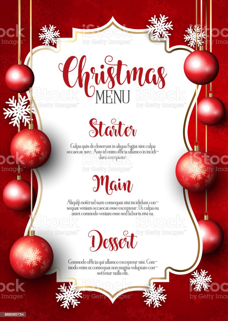 Christmas menu design background vector art illustration