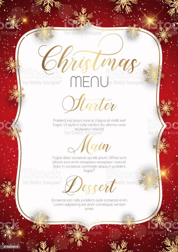 Christmas menu design vector art illustration