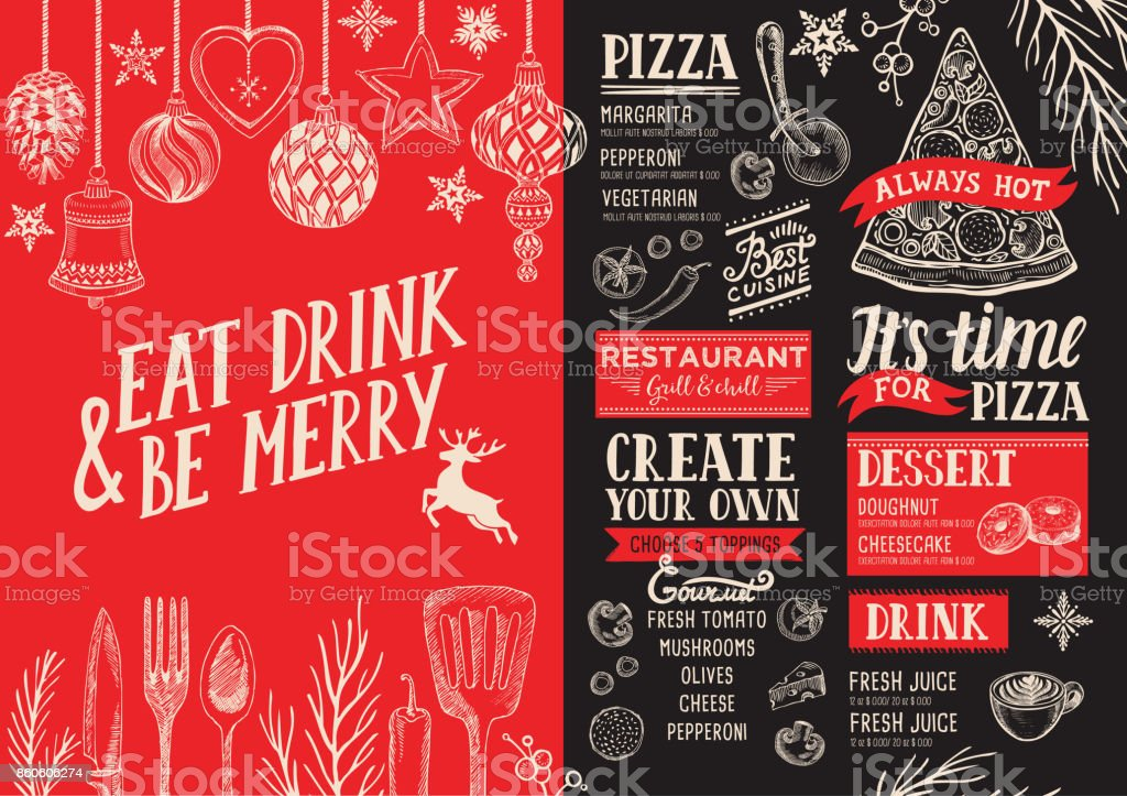 Christmas menu food template for restaurant. - arte vettoriale royalty-free di Carattere tipografico