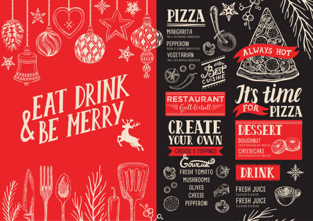 illustrazioni stock, clip art, cartoni animati e icone di tendenza di christmas menu food template for restaurant. - cena natale