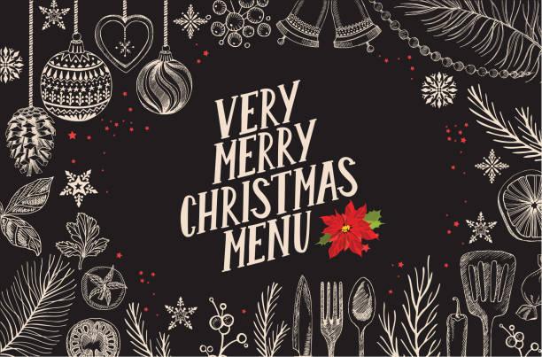 illustrazioni stock, clip art, cartoni animati e icone di tendenza di christmas menu food template for restaurant. - christmas cooking