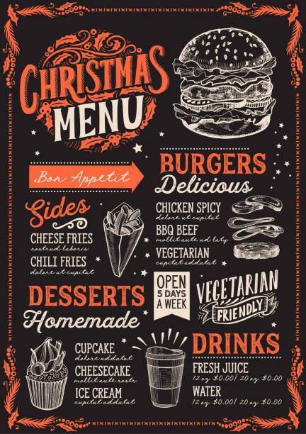 illustrazioni stock, clip art, cartoni animati e icone di tendenza di christmas menu for burger restaurant, food template. - christmas cooking