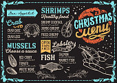 Christmas menu template for seafood restaurant and cafe on a blackboard background vector illustration brochure for dinner celebration. Design poster with vintage lettering and holiday hand-drawn graphic decorations.