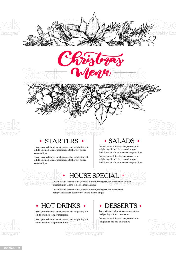 Christmas menu. Restaurant and cafe drawing template with xmas garland. Vector - arte vettoriale royalty-free di Alchol