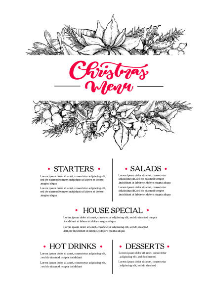 illustrazioni stock, clip art, cartoni animati e icone di tendenza di christmas menu. restaurant and cafe drawing template with xmas garland. vector - cena natale