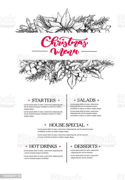 Christmas Menu Restaurant And Cafe Drawing Template With Xmas Garland Vector - Immagini vettoriali stock e altre immagini di Alchol