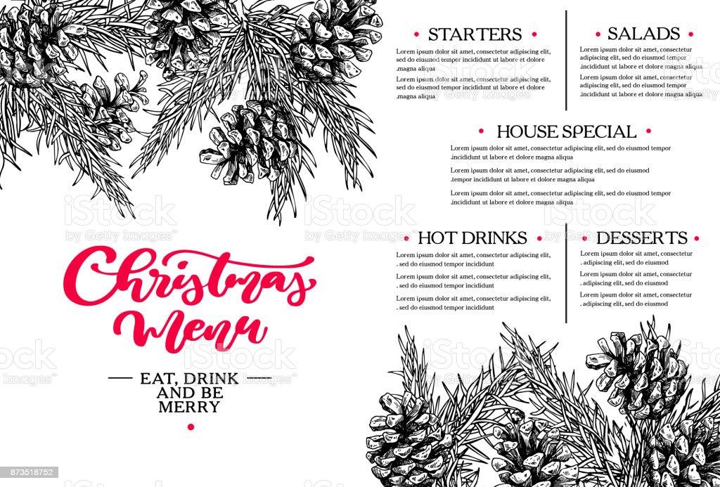 Menú De Navidad Plantilla De Restaurante Y Cafetería Vector ...