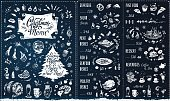 Christmas Menu design. Chalk style vector brochure