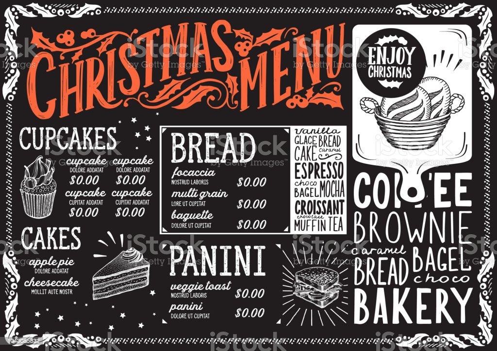 christmas menu template for bakery on blackboard stock vector art