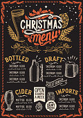 Christmas menu template for beer restaurant and bar on a blackboard background vector illustration brochure for xmas night celebration. Design poster with vintage lettering and hand-drawn graphic decorations.