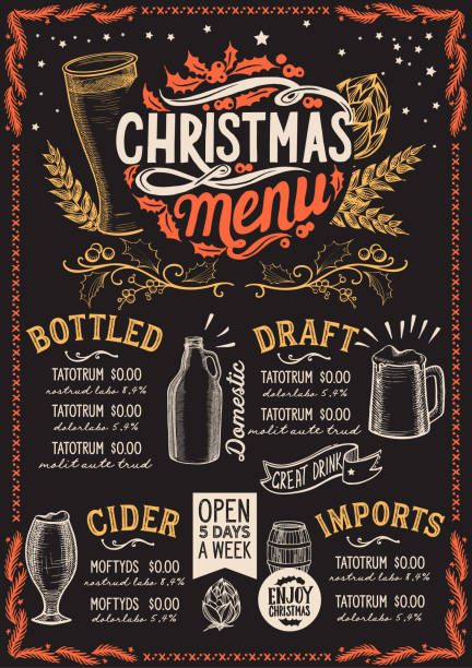christmas menu template for beer restaurant on a blackboard. - alcohol drink borders stock illustrations
