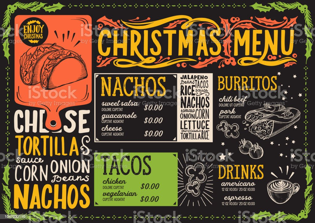 christmas menu template for mexican restaurant stock vector art