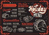 Christmas menu template for mexican restaurant and cafe on a blackboard vector illustration brochure for xmas dinner celebration. Design poster with vintage lettering and holiday hand-drawn graphic decorations.