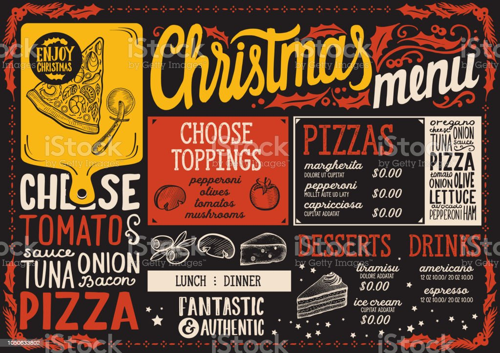 christmas menu template for pizza restaurant on blackboard stock