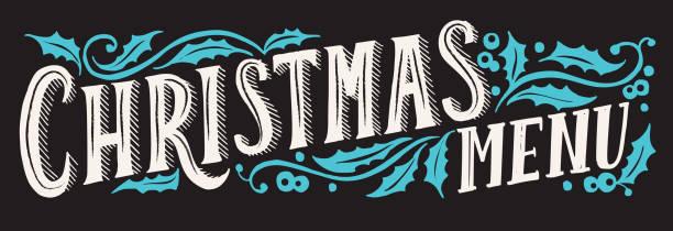 illustrazioni stock, clip art, cartoni animati e icone di tendenza di christmas menu template for restaurant and cafe on a blackboard - pranzo di natale