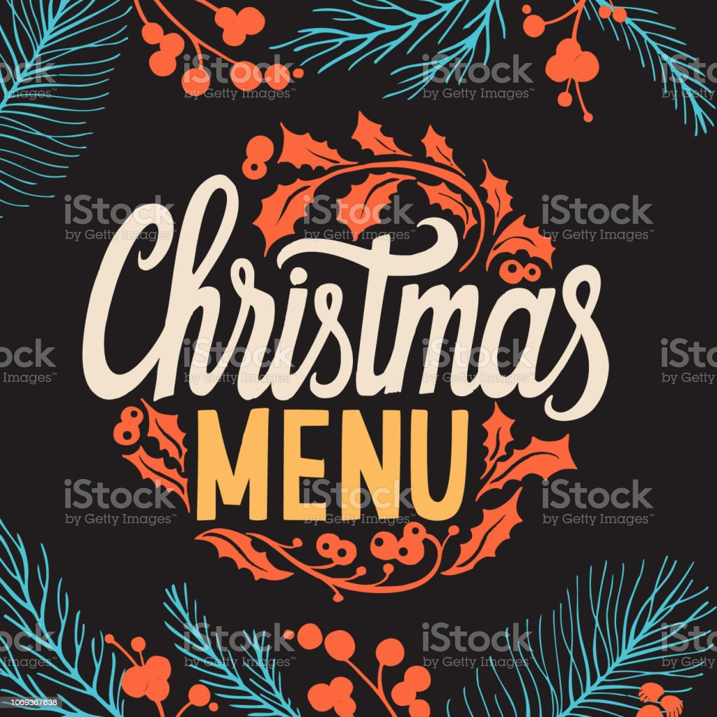 Christmas menu template for restaurant and cafe on a blackboard - arte vettoriale royalty-free di Cartolina di auguri