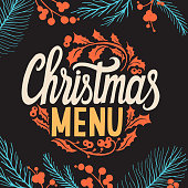 Christmas menu template for restaurant and cafe on a blackboard background vector illustration brochure for xmas dinner celebration. Banner with vintage lettering and holiday hand-drawn graphic decorations.