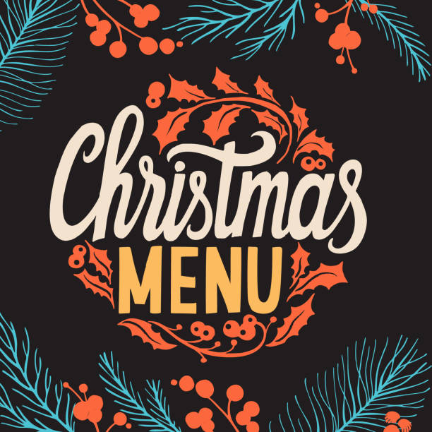 illustrazioni stock, clip art, cartoni animati e icone di tendenza di christmas menu template for restaurant and cafe on a blackboard - cena natale