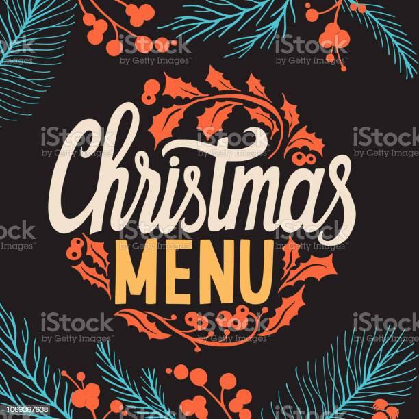Christmas Menu Template For Restaurant And Cafe On A Blackboard - Immagini vettoriali stock e altre immagini di Cartolina di auguri