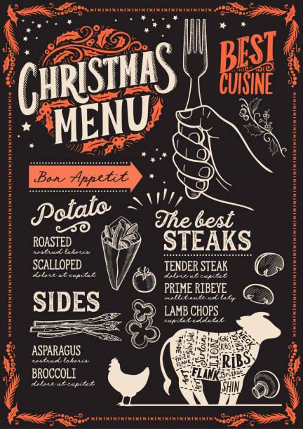illustrazioni stock, clip art, cartoni animati e icone di tendenza di christmas menu template for steak restaurant. - pranzo di natale