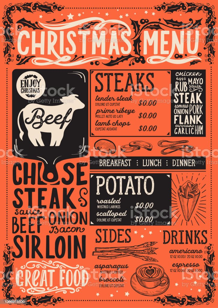 Christmas Restaurant Poster.Christmas Menu Template For Steak Restaurant Stock Illustration Download Image Now