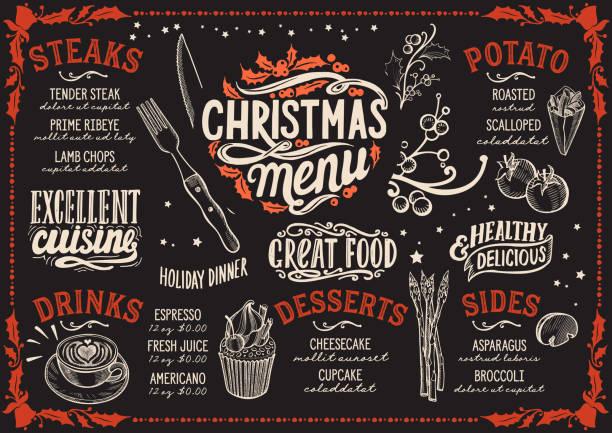 ステーキ レストランのクリスマス メニュー テンプレートです。 - ランチョンマット点のイラスト素材/クリップアート素材/マンガ素材/アイコン素材
