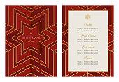 Christmas Menu Template with geometric Snowflake - Illustration