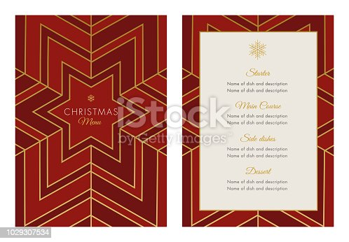 Christmas Menu Template with geometric Snowflake - Illustration