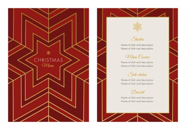 weihnachten-menüvorlage mit geometrischen schneeflocke - menu card stock-grafiken, -clipart, -cartoons und -symbole