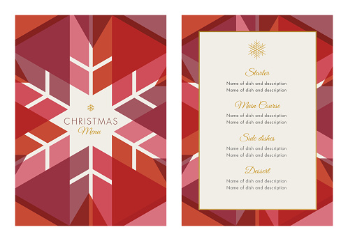 Christmas Menu Template with geometric Snowflake