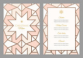 Christmas Menu Template with geometric Snowflake. Stock illustration