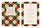 Christmas Menu Template with Stars and Stripes. Stock illustration