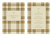 Christmas Menu Template with Tartan pattern. Stock illustration